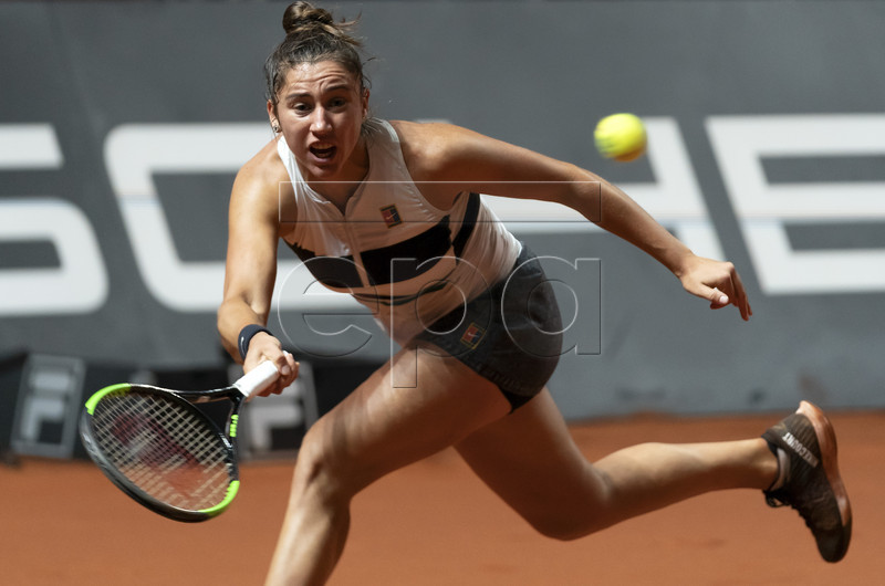 Sara Sorribes Tormo of Spain in action during her first round match against Andrea Petkovic of Germany at the Porsche Tennis Grand Prix tournament in Stuttgart, Germany, 23 April 2019. EPA-EFE/RONALD WITTEK