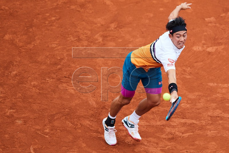 Kei Nishikori of Japan in action during his second round men's single match against Taylor Fritz of the US at the 67th Barcelona Open Trofeo Conde de Godo tennis tournament in Barcelona, Spain, 23 April 2019. EPA-EFE/ALEJANDRO GARCIA