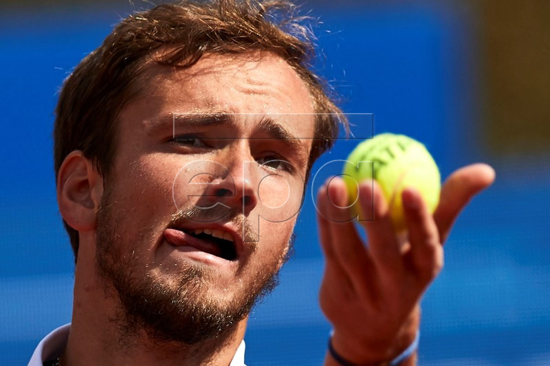 Russian tennis player Daniil Medvedev serves the ball against Spanish Albert Ramos during their second round men's single match of the 67th Barcelona Open Trofeo Conde de Godo tennis tournament in Barcelona, Spain, 24 April 2019. EPA-EFE/Alejandro Garcia