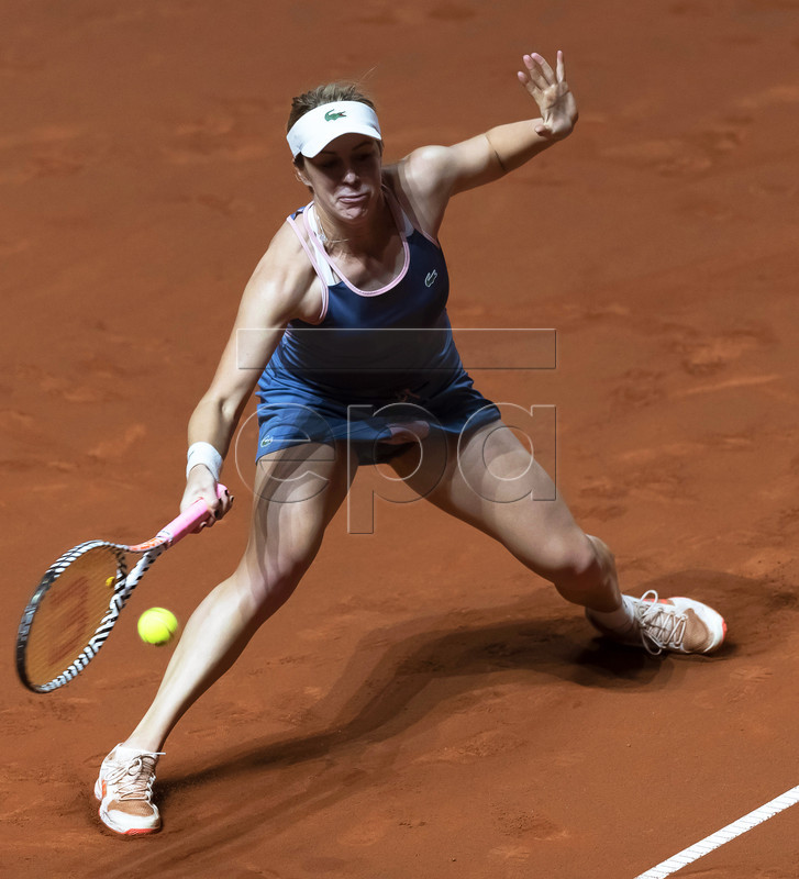 Anastasia Pavlyuchenkova of Russia in action during her first round match against Julia Goerges of Germany at the Porsche Tennis Grand Prix tournament in Stuttgart, Germany, 24 April 2019. EPA-EFE/RONALD WITTEK