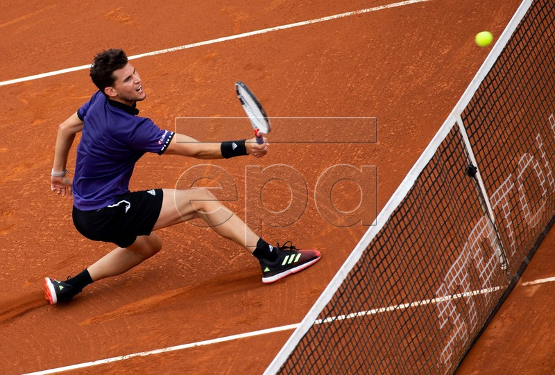 Dominic Thiem of Austria in action during his third round men's single match against Jaume Munar of Spain at the 67th Barcelona Open Trofeo Conde de Godo tennis tournament in Barcelona, Spain, 25 April 2019. EPA-EFE/Enric Fontcuberta