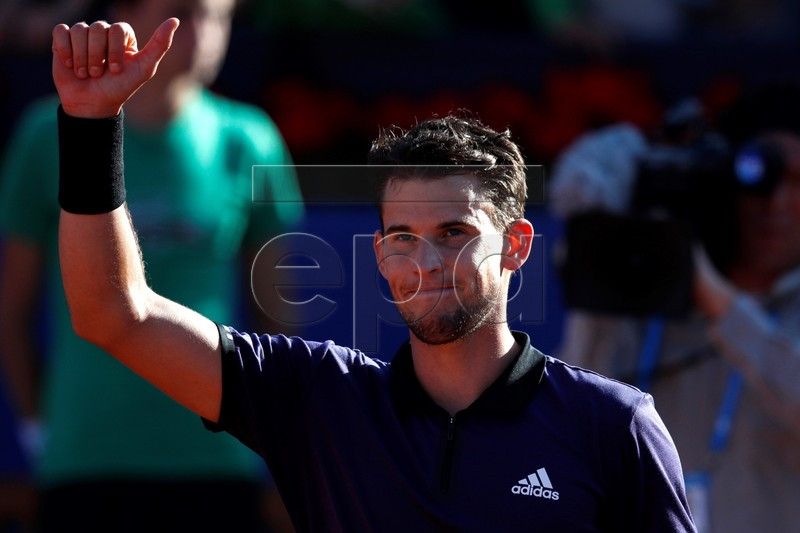 Dominic Thiem of Austria celebrates his victory against Rafael Nadal of Spain in their semifinal men's single match of the 67th Barcelona Open Trofeo Conde de Godo tennis tournament in Barcelona, Spain, 27 April 2019. EPA-EFE/ALEJANDRO GARCIA