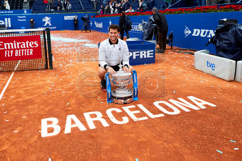 Dominic Thiem of Austria poses with his trophy after defeating Daniil Medvedev of Russia in their final match of the 67th Barcelona Open Trofeo Conde de Godo tennis tournament in Barcelona, Spain, 28 April 2019. EPA-EFE/ALEJANDRO GARCIA