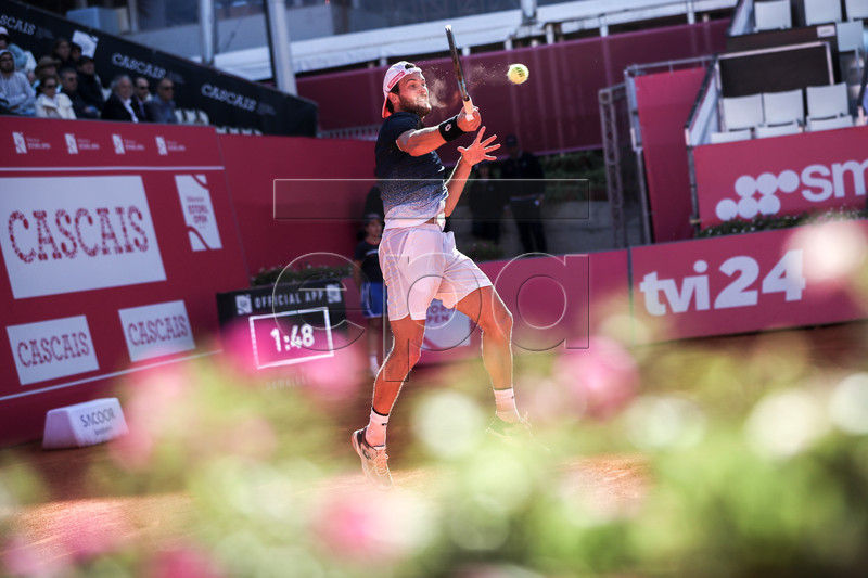 Joao Sousa from Portugal in action during his first round match against Alexei Popyrin from Australia at the Estoril Open Tennis tournament in Cascais, near Lisbon, Portugal, 30 April 2019. EPA-EFE/JOSE SENA GOULAO