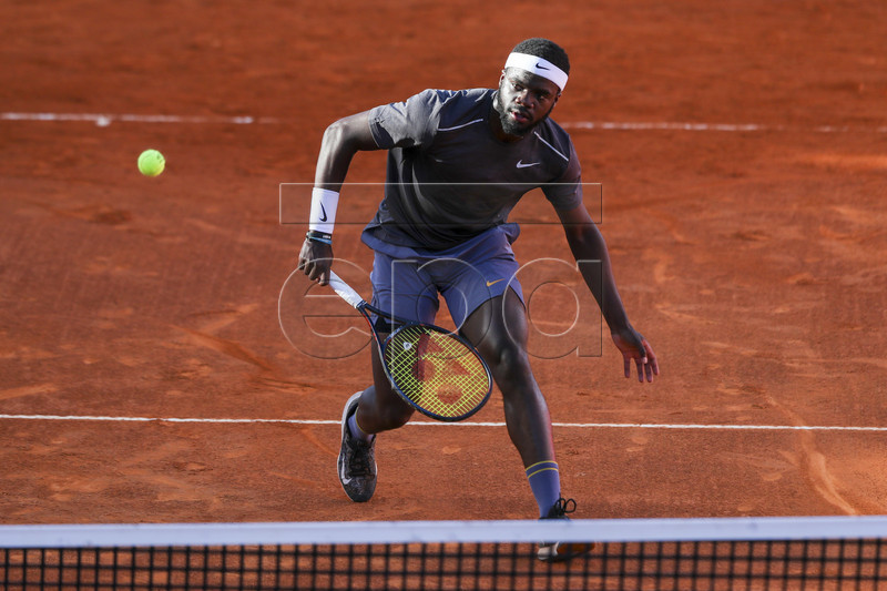 Frances Tiafoe from the USA in action during his first round martchagainst Mikhail Kukushkin from Kazakhstan at the Estoril Open Tennis tournament in Cascais, near Lisbon, Portugal, 30 April 2019. EPA-EFE/JOSE SENA GOULAO