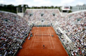 Picture taken with a tilt shift lens of David Goffin of Belgium (front) playing Marco Cecchinato of Italy during their men?s round of 16 match at court Suzanne Lenglen during the French Open tennis tournament at Roland Garros in Paris, France, 03 June 2018. EPA-EFE/IAN LANGSDON