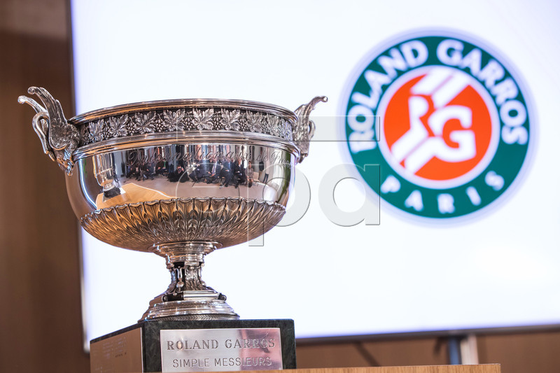 The Roland Garros Men's trophy on display during the Inauguration of the new Simonne-Mathieu tennis court at Roland Garros stadium in Paris, France, 21 March 2019. The new Simonne Mathieu court is named after a former woman tournament winner and will be able to welcome 5,000 spectators for the 2019 tournament. EPA-EFE/CHRISTOPHE PETIT TESSON