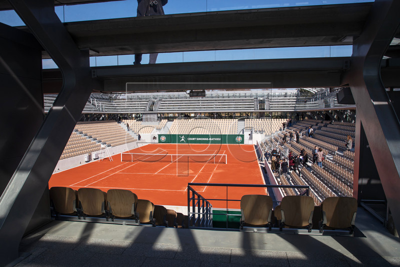 General view of the new Simonne-Mathieu tennis court during its inauguration at the Roland Garros tennis complex in Paris, France, 21 March 2019. The new Simonne Mathieu court is named after a former woman tournament winner and will be able to welcome 5,000 spectators for the 2019 tournament. EPA-EFE/CHRISTOPHE PETIT TESSON