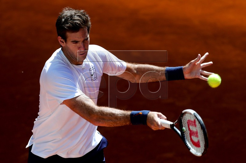 Juan Martin del Potro of Argentina in action during a training session before the Mutua Madrid Open 2019 tennis tournament at Caja Magica in Madrid, Spain, 03 May 2019 EPA-EFE/JUANJO MARTIN