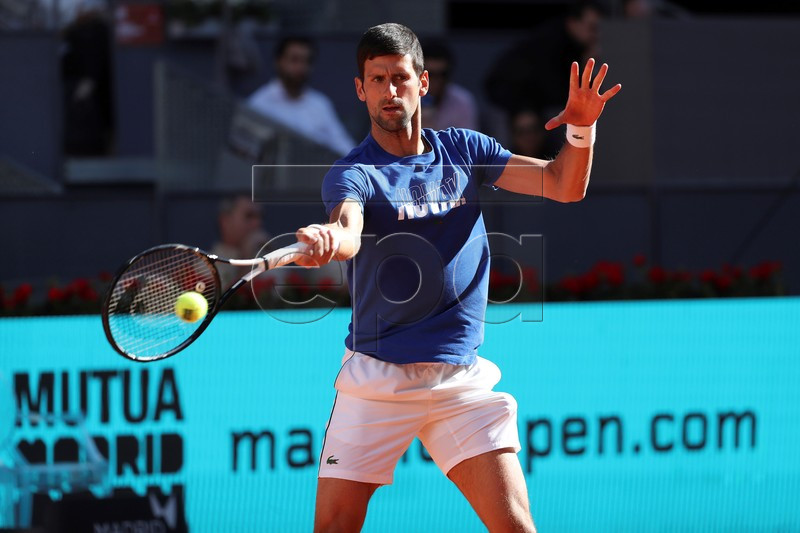 Serbian Novak Djokovic in action during a training session for thee Mutua Madrid Open 2019 tennis tournament at Caja Magica in Madrid, Spain, 03 May 2019. EPA-EFE/Kiko Huesca