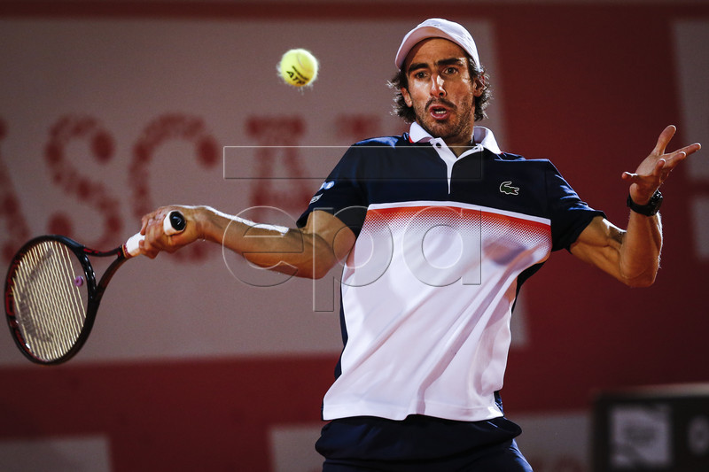 Pablo Cuevas of Uruguay in action during his fourth round match of the Estoril Open Tennis tournament against Frances Tiafoe of USA, in Cascais, near Lisbon, Portugal, 03 May 2019. EPA-EFE/RODRIGO ANTUNES