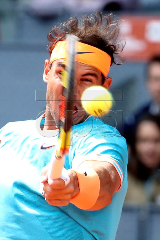 Spain's Rafael Nadal in action during his second round match against Canada's Felix Auger-Aliassime at the Mutua Madrid Open tennis tournament, in Madrid, Spain, 08 May 2019. EPA-EFE/KIKO HUESCA