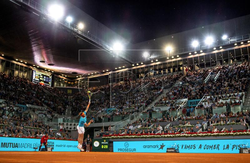 Rafa Nadal of Spain in action against Stefanos Tsitsipas of Greece during their Mutua Madrid Open tennis semi final game at Caja Magica, in Madrid, Spain, 11 May 2019. EPA-EFE/Rodrigo Jimenez