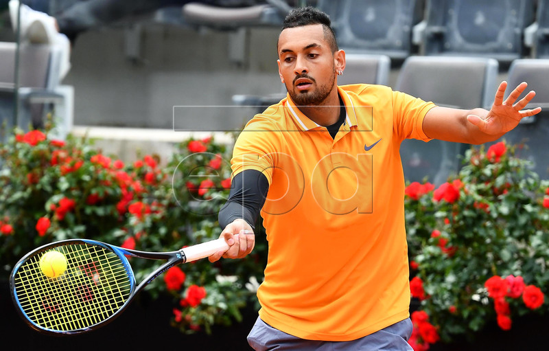 Nick Kyrgios of Australia in action against Daniil Medvedev of Russia during their men's singles first round match at the Italian Open tennis tournament in Rome, Italy, 14 May 2019. EPA-EFE/ETTORE FERRARI