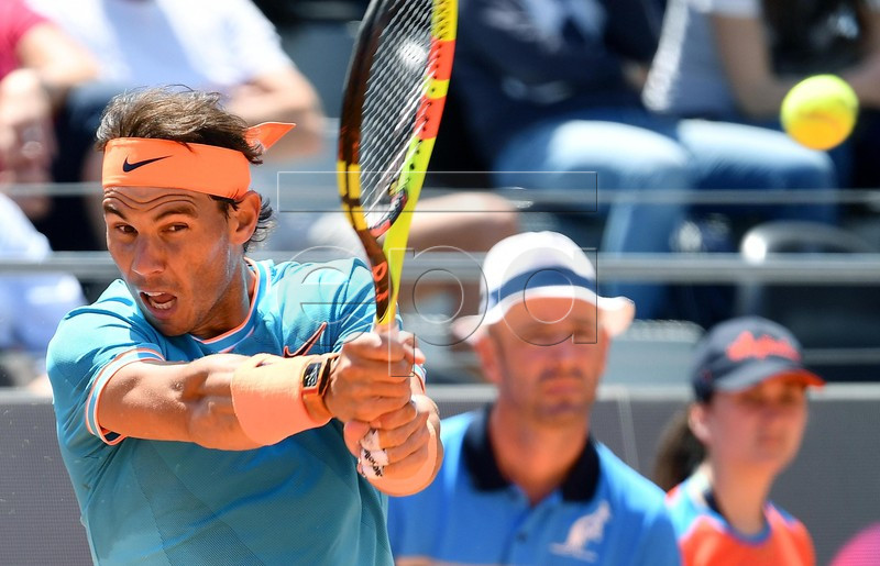 Rafael Nadal of Spain in action during his men's singles match against Jeremy Chardy of France at the Italian Open tennis tournament in Rome, Italy, 16 May 2019. EPA-EFE/ETTORE FERRARI