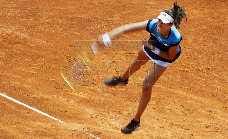 Johanna Konta of Britain in action against Kiki Bertens of the Netherlands during their women's singles semi final match at the Italian Open tennis tournament in Rome, Italy, 18 May 2019. EPA-EFE/RICCARDO ANTIMIANI