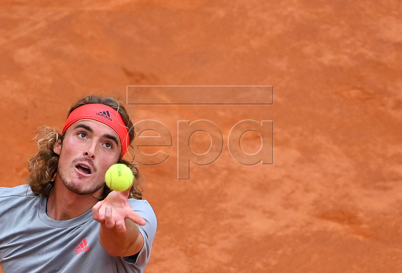 Stefanos Tsitsipas of Greece in action against Rafael Nadal of Spain during their men's singles semi final match at the Italian Open tennis tournament in Rome, Italy, 18 May 2019. EPA-EFE/ETTORE FERRARI