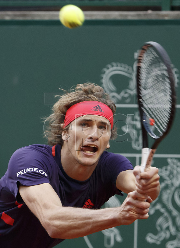 Alexander Zverev of Germany in action during his match against Ernests Gulbis of Latvia at the ATP 250 Geneva Open tennis tournament in Geneva, Switzerland, 21 May 2019. EPA-EFE/SALVATORE DI NOLFI