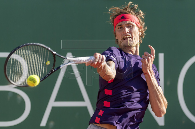 Alexander Zverev of Germany in action during his quarter final match against Hugo Dellien of Bolivia at the Geneva Open tennis tournament in Geneva, Switzerland, 23 May 2019. EPA-EFE/MARTIAL TREZZINI