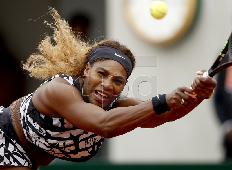 Serena Williams of the USA plays Vitalia Diatchenko of Russia during their women?s first round match during the French Open tennis tournament at Roland Garros in Paris, France, 27 May 2019. EPA-EFE/YOAN VALAT