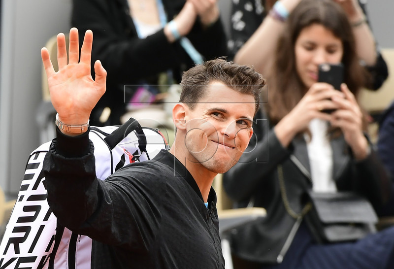 Dominic Thiem of Austria leaves the court after winning against Alexander Bublik of Kazakhstan their men?s second round match during the French Open tennis tournament at Roland Garros in Paris, France, 30 May 2019. EPA-EFE/CAROLINE BLUMBERG
