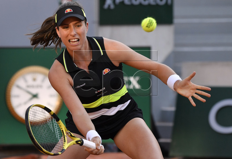 Johanna Konta of Britain plays Viktoria Kuzmova of Slovakia during their women?s third round match during the French Open tennis tournament at Roland Garros in Paris, France, 31 May 2019. EPA-EFE/JULIEN DE ROSA