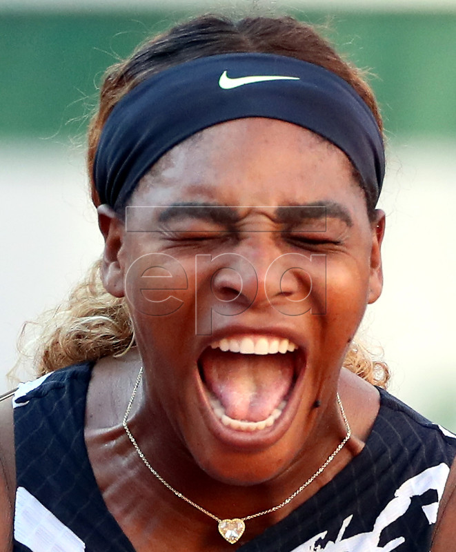 Serena Williams of the USAreacts as she plays Sofia Kenin of the USA during their women?s third round match during the French Open tennis tournament at Roland Garros in Paris, France, 01 June 2019. EPA-EFE/SRDJAN SUKI