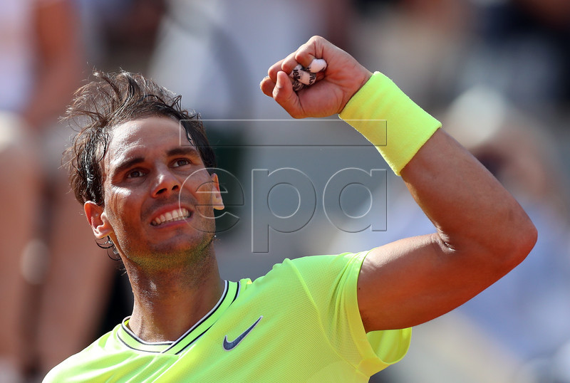 Rafael Nadal of Spain reacts after winning against Juan Ignacio Londero of Argentina their men?s round of 16 match during the French Open tennis tournament at Roland Garros in Paris, France, 02 June 2019. EPA-EFE/SRDJAN SUKI