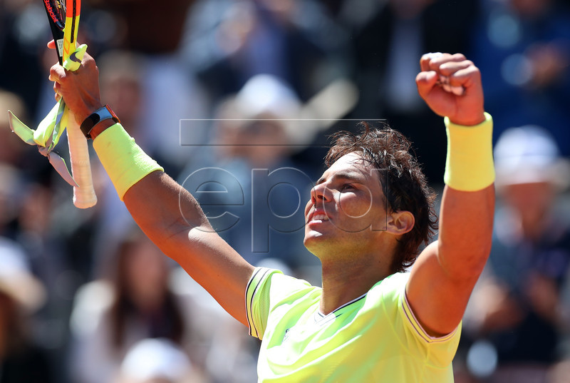 Rafael Nadal of Spain reacts after winning against Roger Federer of Switzerland their men?s semi final match during the French Open tennis tournament at Roland Garros in Paris, France, 07 June 2019. EPA-EFE/SRDJAN SUKI