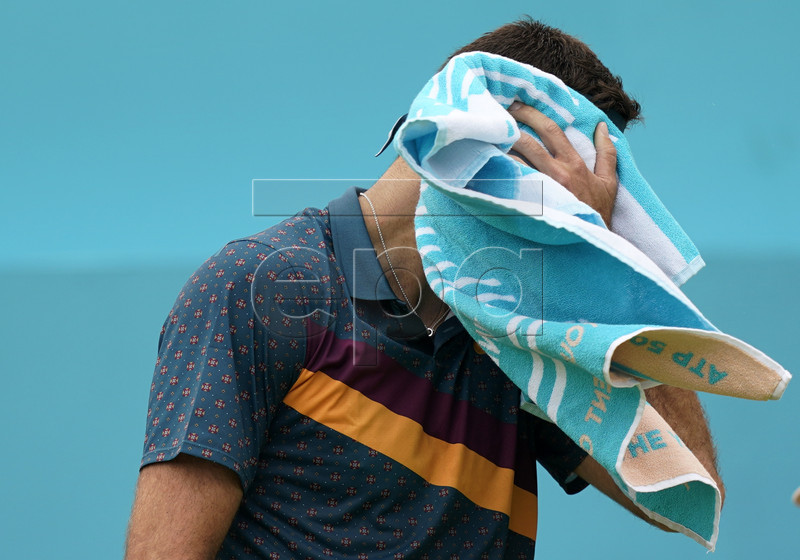 Argentina's Juan Martin del Potro during his round 32 match against Canada's Denis Shapovalov at the Fever Tree Championship at Queen's Club in London, Britain, 19 June 2019. The tournament runs from 17th June till 23 June 2019. EPA-EFE/WILL OLIVER