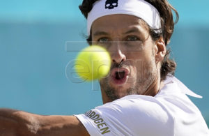 Spain's Feliciano Lopez in action against Felix Auger Aliassime of Canada during their semi final match at the Fever Tree Championship at Queen's Club in London, Britain, 22 June 2019. EPA-EFE/WILL OLIVER
