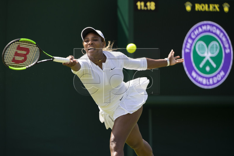 Serena Williams of USA in action during a training session at the All England Lawn Tennis Championships in Wimbledon, London 28 June 2019. EPA-EFE/PETER KLAUNZER EDITORIAL USE ONLY; NO SALES, NO ARCHIVES