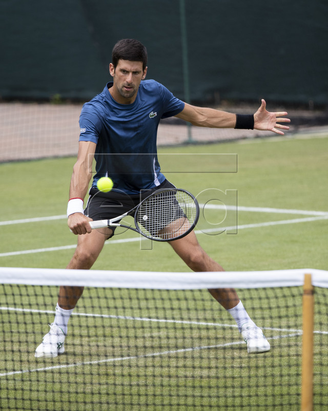 Novak Djokovic of Serbia in action during a training session at the All England Lawn Tennis Championships in Wimbledon, London, on Sunday, June 30, 2019. EPA-EFE/PETER KLAUNZER EDITORIAL USE ONLY; NO SALES, NO ARCHIVES