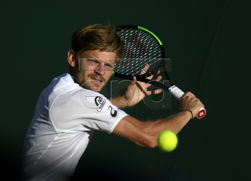 David Goffin of Belgium in action against Bradley Klahn of the USA during their first round match at the Wimbledon Championships at the All England Lawn Tennis Club, in London, Britain, 01 July 2019. EPA-EFE/WILL OLIVER EDITORIAL USE ONLY/NO COMMERCIAL SALES