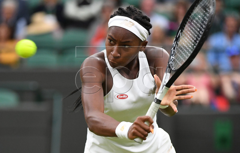 Cori Gauff of the US returns to Magdalena Rybarikova of Slovakia in their second round match during the Wimbledon Championships at the All England Lawn Tennis Club, in London, Britain, 03 July 2019. EPA-EFE/ANDY RAIN EDITORIAL USE ONLY/NO COMMERCIAL SALES
