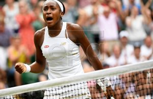 Cori Gauff of the USA in action against Polona Hercog of Slovenia during their third round match for the Wimbledon Championships at the All England Lawn Tennis Club, in London, Britain, 05 July 2019. EPA-EFE/ANDY RAIN EDITORIAL USE ONLY/NO COMMERCIAL SALES