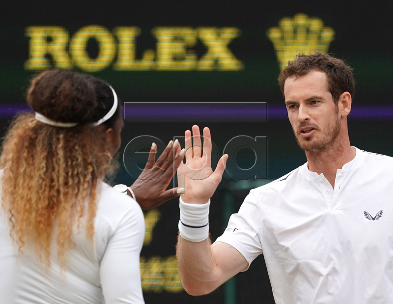 Andy Murray (R) of Britain and Serena Williams of the USA in action during their Mixed Doubles match against Andreas Mies of Germany and Alexa Guarachi of Chile at the Wimbledon Championships at the All England Lawn Tennis Club, in London, Britain, 06 July 2019. EPA-EFE/WILL OLIVER EDITORIAL USE ONLY/NO COMMERCIAL SALES