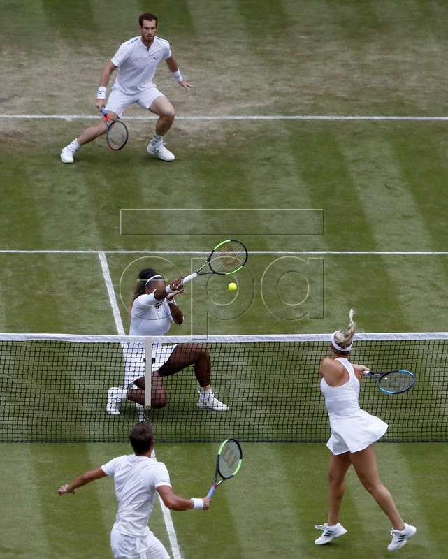 Andy Murray (top) of Britain and Serena Williams (C-L) of the USA in action during their Mixed Doubles match against Andreas Mies (front) of Germany and Alexa Guarachi (C-R) of Chile at the Wimbledon Championships at the All England Lawn Tennis Club, in London, Britain, 06 July 2019. EPA-EFE/NIC BOTHMA EDITORIAL USE ONLY/NO COMMERCIAL SALES