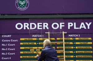 The order of play is displayed on a board during the Wimbledon Championships at the All England Lawn Tennis Club, in London, Britain, 08 July 2019. EPA-EFE/WILL OLIVER EDITORIAL USE ONLY/NO COMMERCIAL SALES