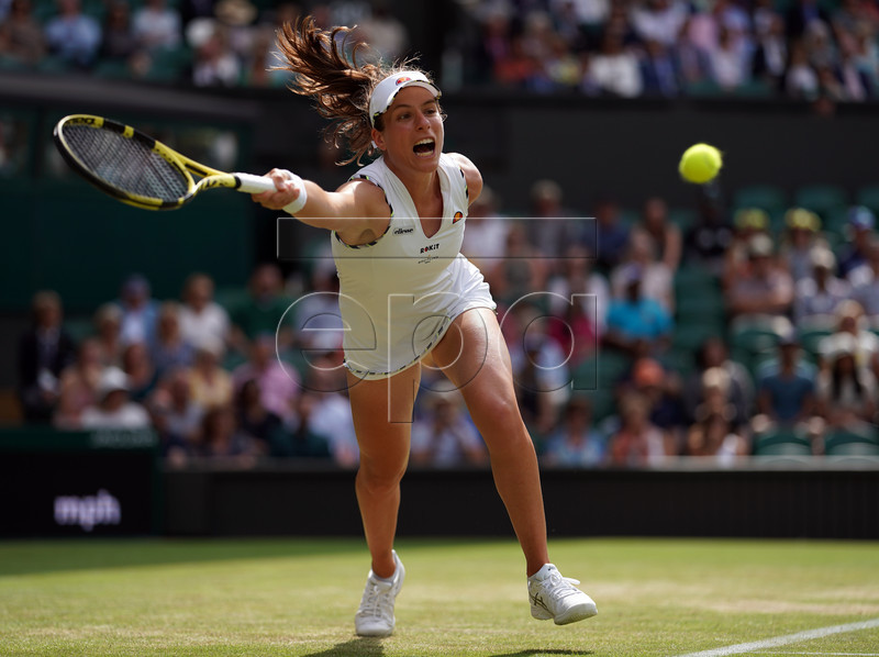 Johanna Konta of Britain returns to Petra Kvitova of the Czech Republic in their fourth round match during the Wimbledon Championships at the All England Lawn Tennis Club, in London, Britain, 08 July 2019. EPA-EFE/NIC BOTHMA EDITORIAL USE ONLY/NO COMMERCIAL SALES