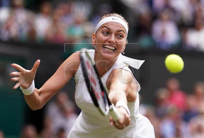 Petra Kvitova of the Czech Republic returns to Johanna Konta of Britain in their fourth round match during the Wimbledon Championships at the All England Lawn Tennis Club, in London, Britain, 08 July 2019. EPA-EFE/NIC BOTHMA EDITORIAL USE ONLY/NO COMMERCIAL SALES