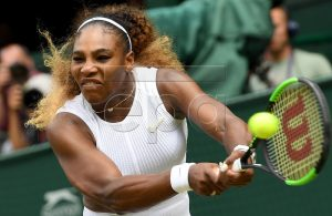 Serena Williams of the USA in action against Alison Riske of the USA during their quarter final match for the Wimbledon Championships at the All England Lawn Tennis Club, in London, Britain, 09 July 2019. EPA-EFE/ANDY RAIN EDITORIAL USE ONLY/NO COMMERCIAL SALES