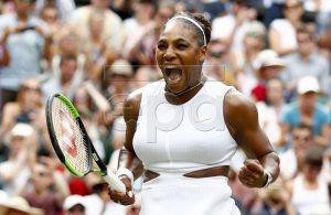 Serena Williams of the USA celebrates winning against Alison Riske of the USA during their quarter final match for the Wimbledon Championships at the All England Lawn Tennis Club, in London, Britain, 09 July 2019. EPA-EFE/NIC BOTHMA EDITORIAL USE ONLY/NO COMMERCIAL SALES